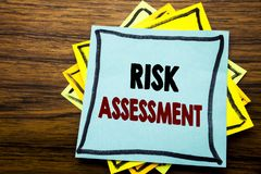 Hand writing text caption inspiration showing Risk Assessment. Business concept for Safety Danger Analyze written on sticky note p. Aper on wooden wood Stock Image