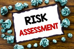 Hand writing text caption inspiration showing Risk Assessment. Business concept for Safety Danger Analyze Written on sticky note p. Aper, wooden background Stock Photos