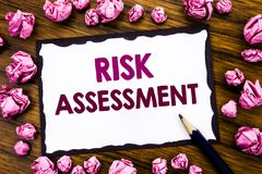 Hand writing text caption inspiration showing Risk Assessment. Business concept for Safety Danger Analyze Written on sticky note p. Aper, wooden background Stock Photography
