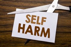 Hand writing text caption inspiration showing Self Harm. Business concept for Selfharm Mental Aggression Written on note, wooden b. Hand writing text caption Royalty Free Stock Image