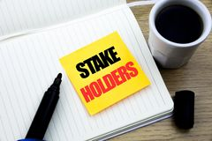 Hand writing text caption inspiration showing Stake Holders. Business concept for Stakeholder Engagement written on sticky note pa. Hand writing text caption stock images