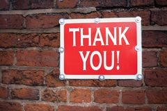 Hand writing text caption inspiration showing Thank You concept meaning Giving Gratitude Appreciate Message written on old announc. Ement road sign with royalty free stock photo