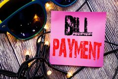 Hand writing text caption showing Bill Payment. Business concept for Billing Pay Costs written sticky note empty paper background. Hand writing text caption Royalty Free Stock Image