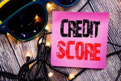 Hand writing text caption showing Credit Score. Business concept for Financial Rating Record written sticky note empty paper backg. Hand writing text caption stock photography