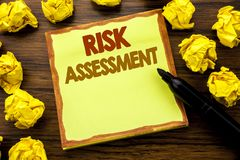 Hand writing text caption showing Risk Assessment. Business concept for Safety Danger Analyze Written on sticky note paper, wooden. Background marker folded stock photography