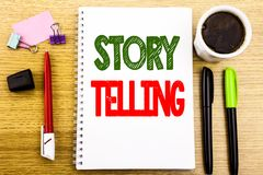 Hand writing text caption showing Storytelling. Business concept for Teller Story Message Written on notepad note paper background. Hand writing text caption Stock Image