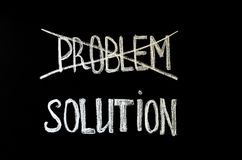 Hand writing text `problem and solution` on chalkboard royalty free stock photos