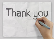 Hand writing Thank you Royalty Free Stock Image
