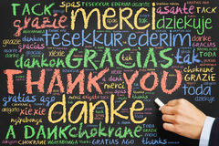 Hand writing Thank you in many languages. Hand writing `Thank you` in many languages on a chalkboard Stock Photography