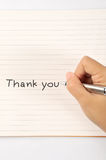Hand writing thank you Royalty Free Stock Photography
