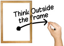 Hand Writing Think Outside Frame Marker Whiteboard Royalty Free Stock Photography