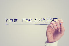 Hand Writing Time for Change Phrase royalty free stock image