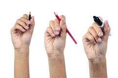 Hand writing. With writing tools Stock Photo