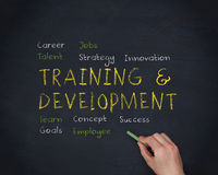 Hand writing training and development with a chalk Stock Images