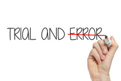 Hand writing trial error Stock Photo