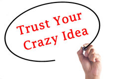 Hand writing Trust Your Crazy Idea on transparent board Stock Photos