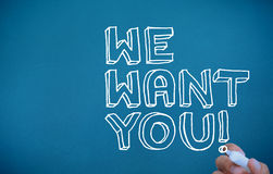 Hand writing we want you stock images