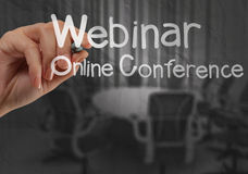 Hand writing Webinar with crumpled paper background. As concept royalty free stock photos