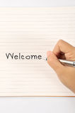 Hand writing welcome Royalty Free Stock Image