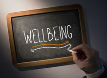 Hand writing Wellbeing on chalkboard. Hand writing the word wellbeing on black chalkboard Stock Images