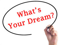 Hand writing What's Your Dream on transparent board.  royalty free stock images