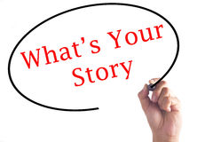 Hand writing What`s Your Story on transparent board Royalty Free Stock Photography