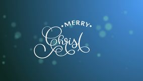 Hand Writing white Merry Christmas animation calligraphy lettering text on blue bokhe bulb background. 3D For video stock video footage
