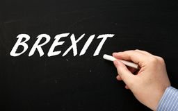 Hand Writing the word Brexit on a Blackboard Royalty Free Stock Images