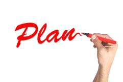 Hand writing word Plan on transparent board Royalty Free Stock Photo