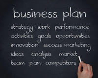 Hand writing words about business plan Stock Photos