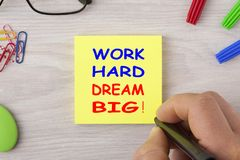 Work hard dream big stock photos