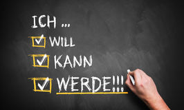 Hand is writing 'I want, I can, I do' in German Royalty Free Stock Images