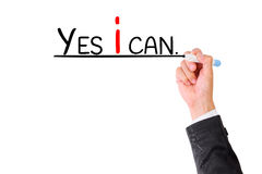 Hand writing YES I  CAN  on visual screen. Royalty Free Stock Photos
