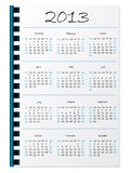 Hand written 2013 calendar on notepaper Stock Photography