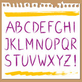 Hand written alphabet. ABC painted in brush strokes - capital letters Stock Photos
