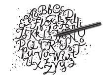 Hand written alphabet Stock Photography