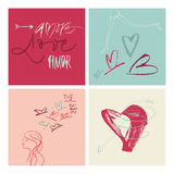 Hand-written Amore Love Amor illustration Stock Photos