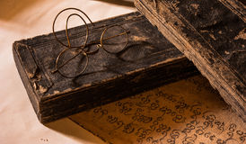 Hand Written Ancient Treatise of Lanna character with very old g Stock Photography