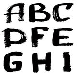 Hand written black ink alphabet Royalty Free Stock Photos