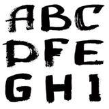 Hand written black ink alphabet Royalty Free Stock Photos