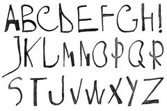 Hand written black ink alphabet Royalty Free Stock Photo