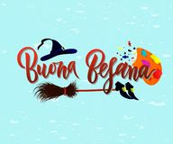 Hand written brush lettering phrase Buona Befana on blue. Hand written brush lettering phrase Buona Befana meaning Happy Epiphany on blue background with broom vector illustration