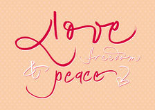 Hand-written calligraphic new year wishes. Royalty Free Stock Images