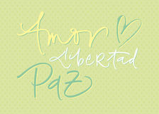 Hand-written calligraphic new year wishes in spani Stock Image