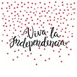 Viva Independence Spanish quote. Hand written calligraphic Spanish lettering quote Long Live Independence with falling stars. Isolated objects. Vector Stock Image