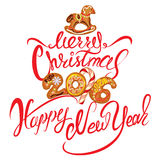 Hand written calligraphic text Merry Christmas and Happy New Yea Royalty Free Stock Images