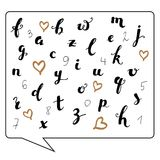 Hand written calligraphy abc and numbers royalty free illustration