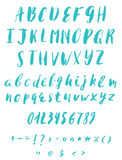 Hand written calligraphy alphabet. Blue colors. Brush script font in  format Royalty Free Stock Photos