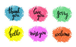 Hand written calligraphy messages. Hand written calligraphy style short messages set. Lettering thank you, sorry, love you, hello, miss you, welcome. Design vector illustration