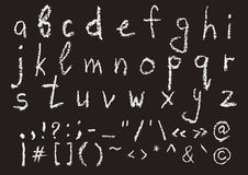 Hand written chalk lowercase english alphabet Stock Images
